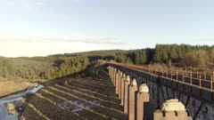 Aerial View of the Old Fleet Viaduct in Scotland