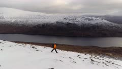 Hillwalker Surrounded by Beautiful Landscape