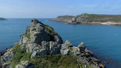Aerial View of the Scilly Isles Sea Channel