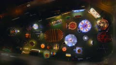 Aerial Time Lapse of a Fun Fair at Night