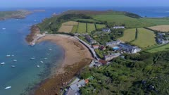 Aerial View of Old Grimsby Port in Scilly
