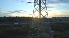 Close Aerial View of an Electricity Pylon