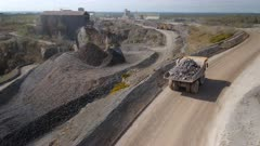 Mine Truck Driving Ore to a Processing Plant