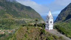 Fly Past an Old Chapel Tower on a Hill in Madeira