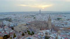 Seville City From the Air and Cathedral