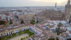 Rising View of Seville City From the Air