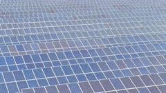 Solar Power Farm Aerial View