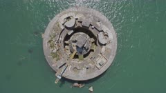 Aerial View of an Abandoned Sea Fort in the Solent, UK