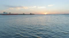 Sunset Flying Low Towards Southampton Docks