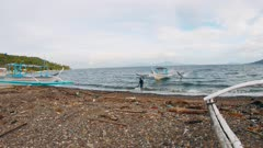 Philippine outrigger Bangka Boat parking for the night.