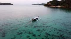 Aerial of scuba diving Banca Boat in Romblon Island, Philippines (6 of 9)
