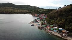 Aerial of fishing village in the Philippines