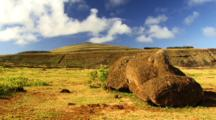 Moai Rano Raraku Eastern Island Rapa Nui Time Laps Clouds
