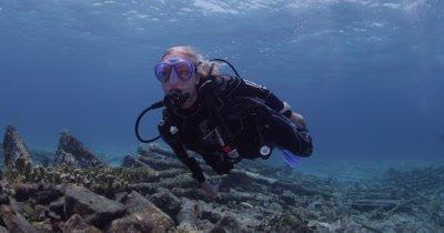 Diver Swim Around shipwreck
