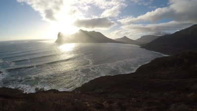 Aerial view of Hout Bay, South Africa, at sunset