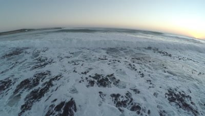 Scenic view of the South Atlantic Ocean waves crashing on the rocky South African coast
