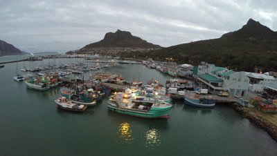 Scenic view of the harbour at Hout Bay near Cape Town, South Africa