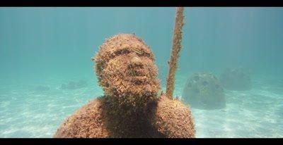 Wreckage on the sandy ocean floor in the Bahamas