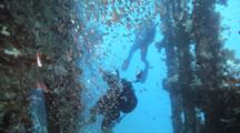 Diver Photographs Inside Wreck