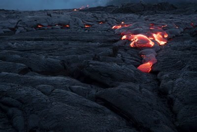 Slow lava flow down crack, Volcanoes National Park, timelapse