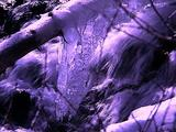 Winter Scenics - Zoom Out From Ice On Branch, Creek Running Over Rocks Background