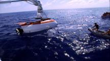 "Titanic Excursion Preparations - Mir Launch, Zodiac ""Cowboy"" Crew Into Shot"