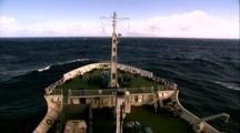 Titanic Excursion Preparations - High Angle Shot Of Keldysh Bow Cutting Into Choppy Water