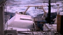 Titanic Excursion Preparations - Shot Toward Stern With Stormy Seas