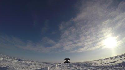 transportation Van on Tundra driving over Camera
