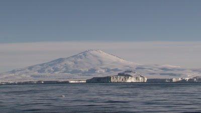 Massive Icebergs in front of Mount Erebus in the Ross sea, Antarctica
