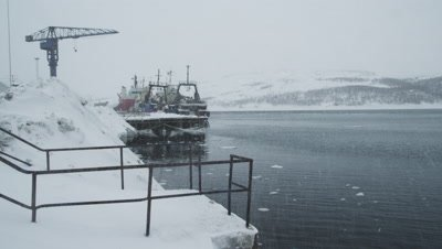 Winter in Kirkenes harbour,Northern Norway,near Russian border.