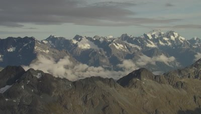 View of mountains, pan right