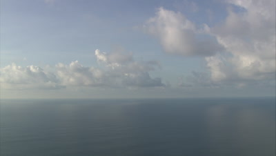 View of ocean horizon and clouds above