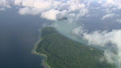 Island below clouds