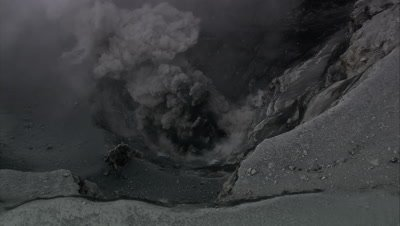 High angle of volcano's smoking crater