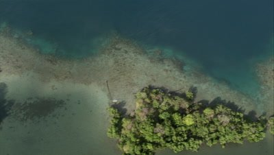 Flying over a chain of small isolated islands