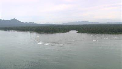 flying along island river