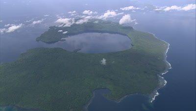 Circling island below