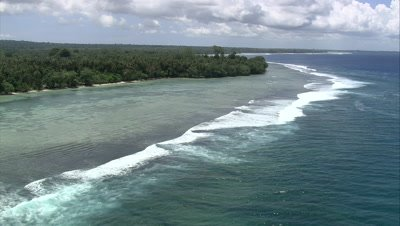 Scenic view of an island coastline in the South Pacific