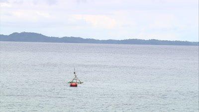 View of FAD near coast. dolly zoom to coast