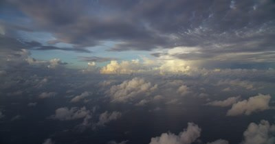 Static shot of clouds over the ocean