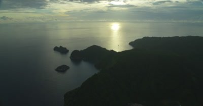 High aerial, gradually descending on Cocos Island