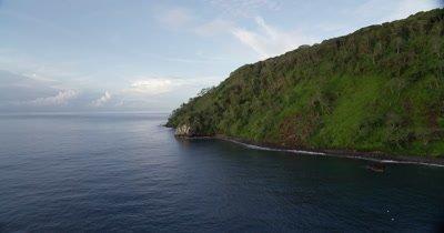 Flying around coast of Cocos Island