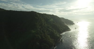 Flying over the top of Cocos Island