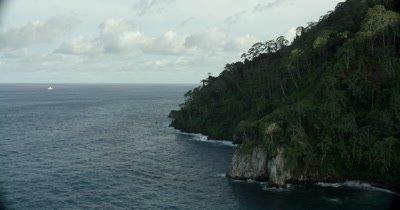 Circling coast of island