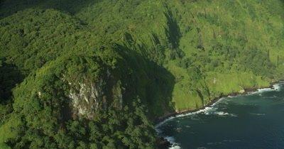 Panning along coast of island
