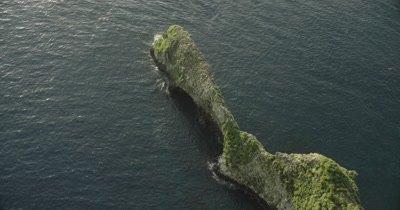 birds eye view of narrow peninsula