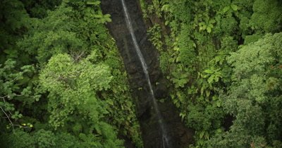 long zoom out to bird's eye view of waterfall
