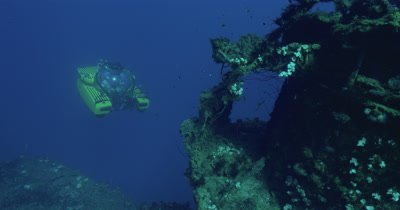 Tracking submarine as it explores wreck of the USS Saratoga.