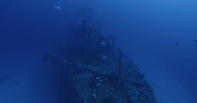 POV, descending down guideline to USS Lamson shipwreck. submarine in distance
